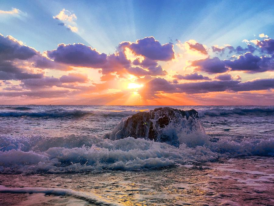Rocks Photograph - Suns Rays By The Old Coral. by Andrew Royston