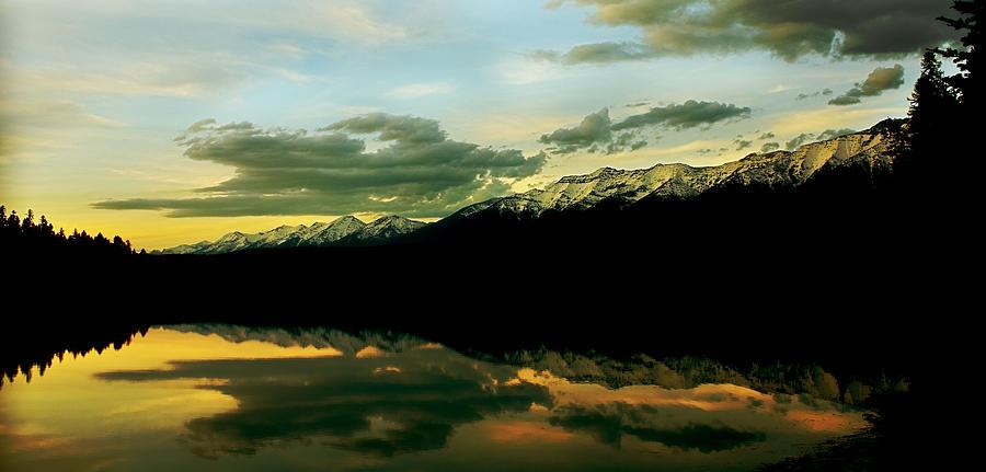 Mountains Photograph - Sunset 1 Rainy Lake by Janie Johnson