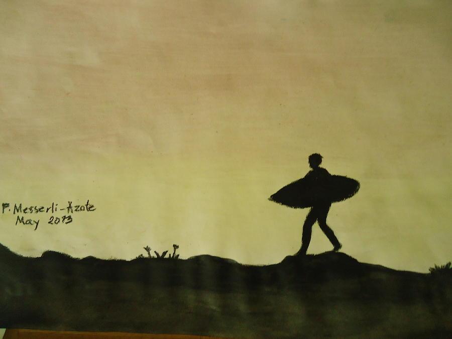 Oil Pastel Painting - Sunset 2 by Fladelita Messerli-