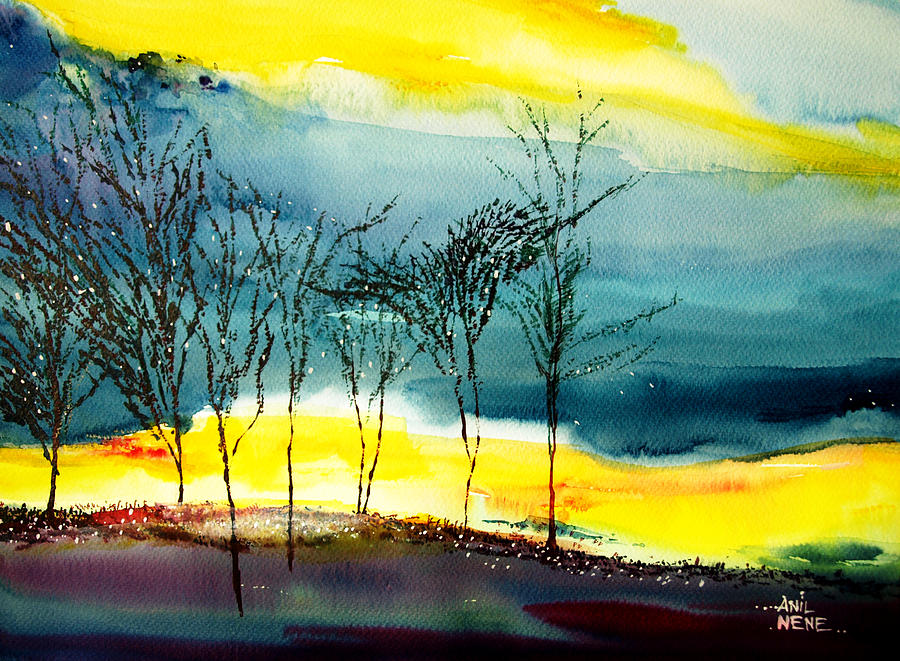 Nature Painting - Sunset 3 by Anil Nene
