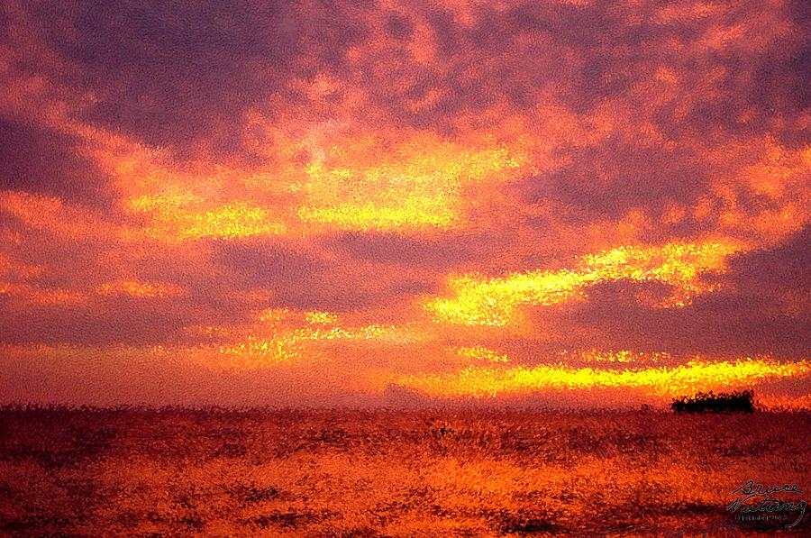 Sunset A La Neo Pointillism Painting By Bruce Nutting