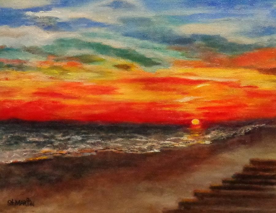 Sunset Painting - Sunset After Sandy by Annie St Martin