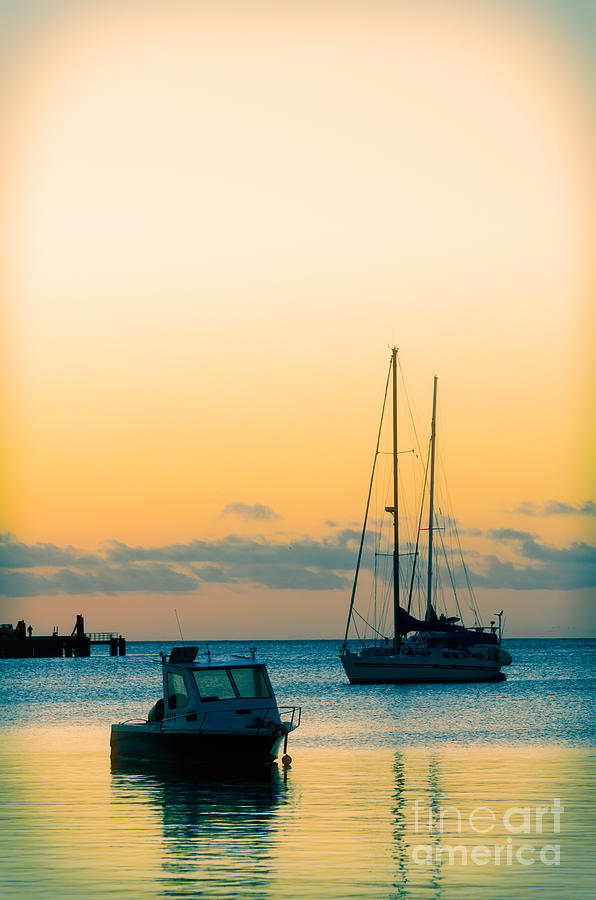 Sunset Photograph - Sunset And Boats In A Beautiful Harbour by David Hill