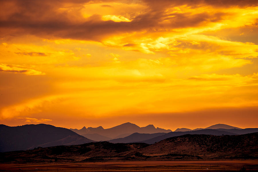 Fort Collins Photograph - Sunset And Smoke Covered Mountains by Rebecca Adams