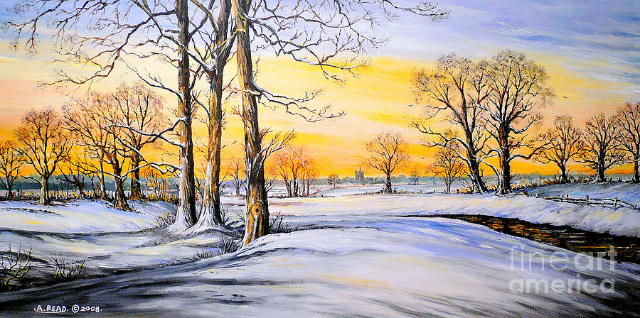 Snow Painting - Sunset And Snow by Andrew Read