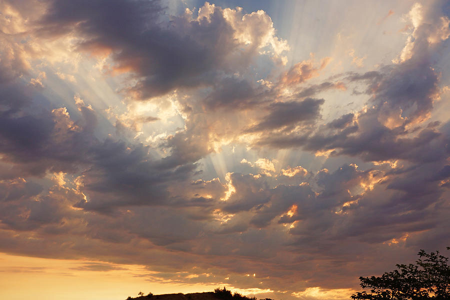 Sunset Art Prints Sun Rays Twilight Clouds Photograph
