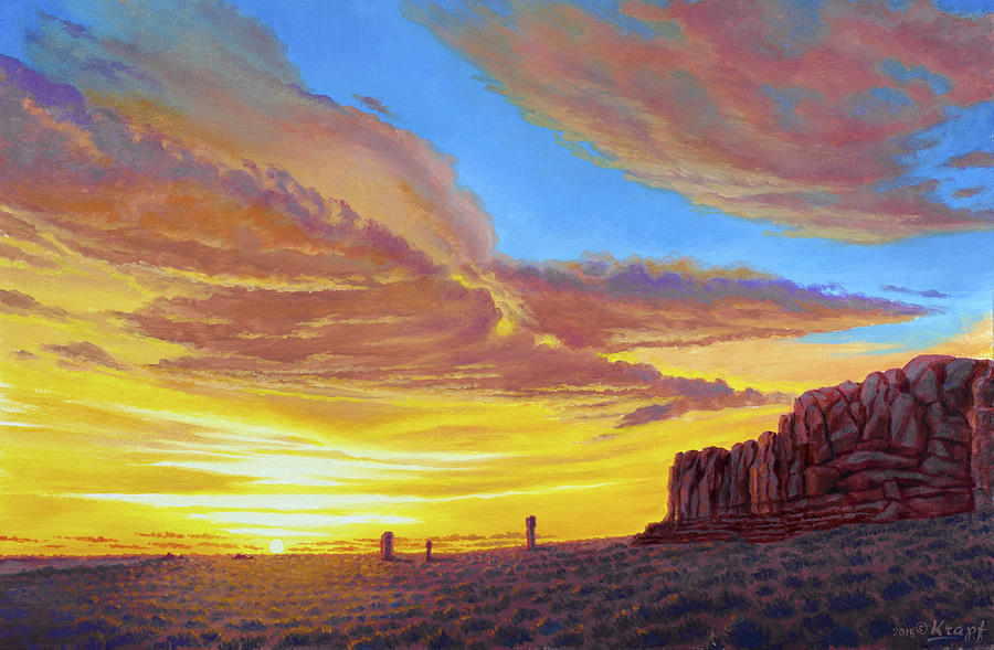 Sunset Painting - Sunset At Arches by Paul Krapf