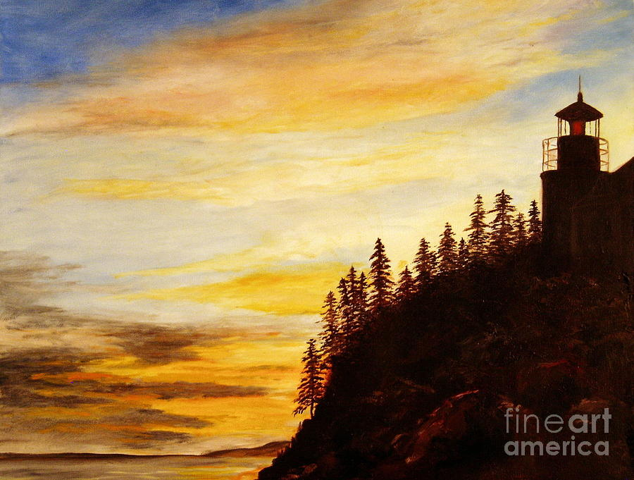 Bass Harbor Lighthouse Painting - Sunset At Bass Harbor by Lee Piper