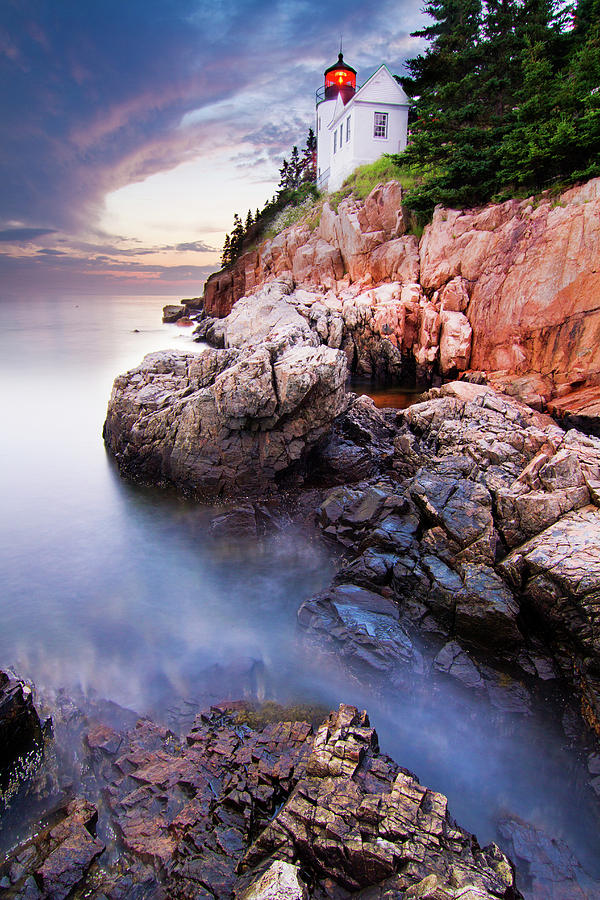 Landscape Photograph - Sunset At Bass Harbor Lighthouse by Mircea Costina
