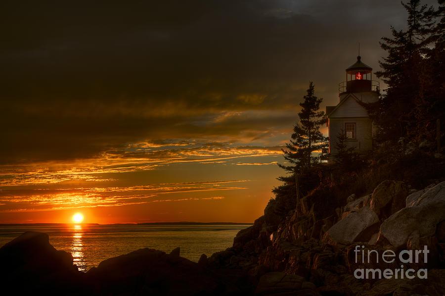 Acadia National Park Photograph - Sunset At Bass Harbor Lighthouse by Oscar Gutierrez