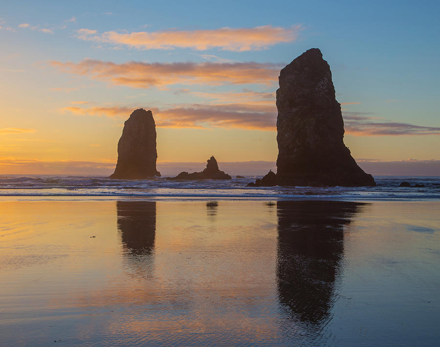 Cannon Beach Photograph - Sunset At Cannon Beach by Angie Vogel