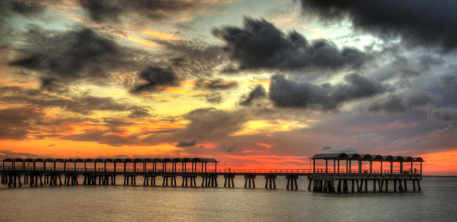 Sunset At Clam Creek Fishing Pier Photograph by Greg and Chrystal Mimbs