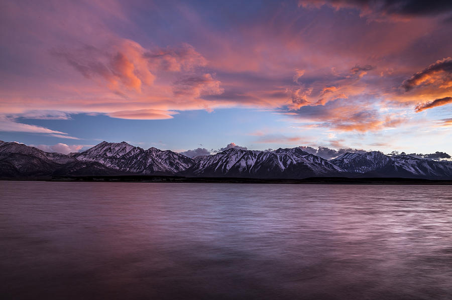 Clouds Photograph - Sunset At Crowley Lake by Cat Connor