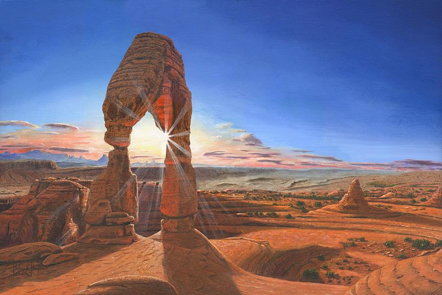 Delicate Arch Painting - Sunset At Delicate Arch Utah by Richard Harpum