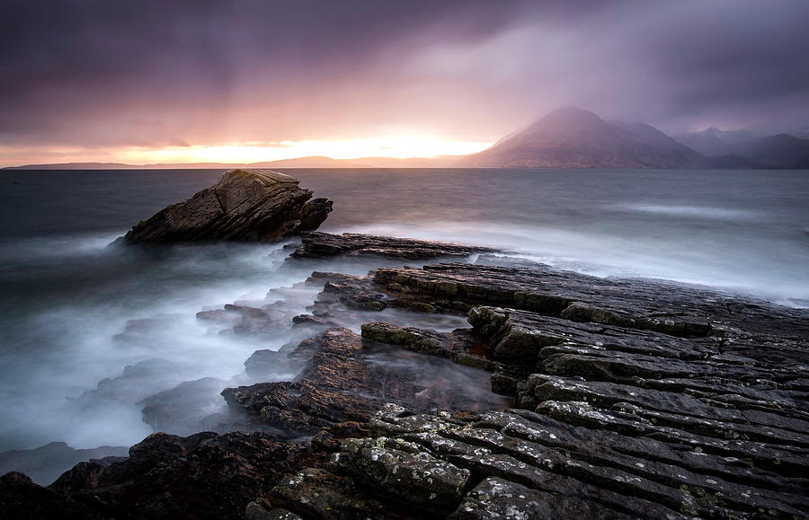 Scotland Photograph - Sunset At Elgol Beach by Nicoleta Nussthaler