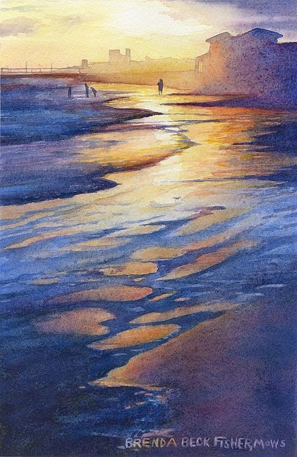 Sunset At Galveston Beach Painting by Brenda Beck Fisher