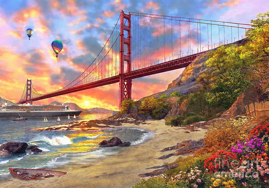 Sunset At Golden Gate Digital Art By Mgl Meiklejohn