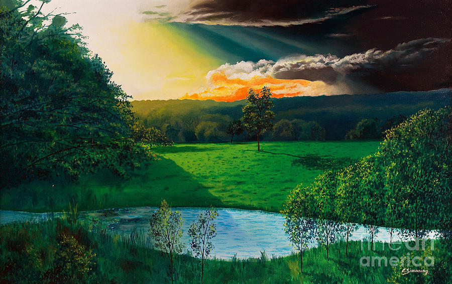 Sunset Painting - Sunset At L Hermitiere by Christian Simonian