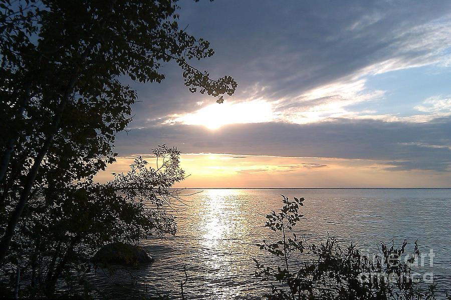 Water Photograph - Sunset at Lake Winnipeg by Mary Mikawoz