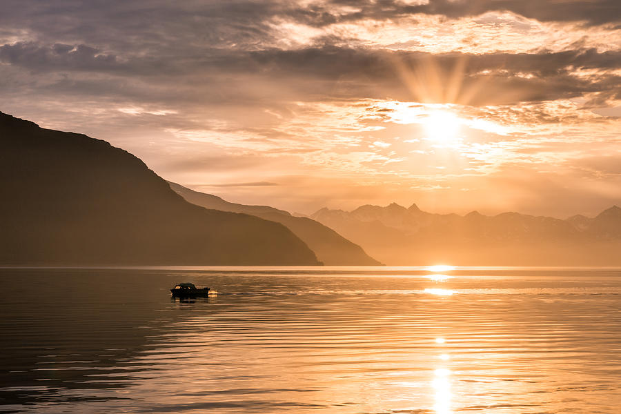 Arctic Ocean Photograph - Sunset At Lyngenfjord by Janne Mankinen