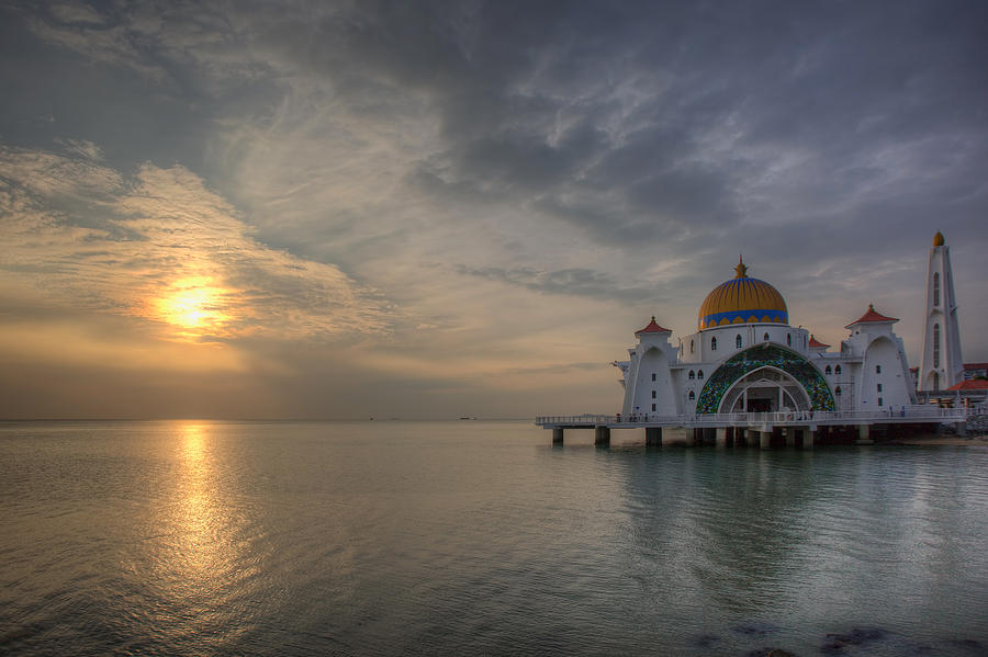 Muslim Photograph - Sunset At Malacca Straits Mosque by David Gn