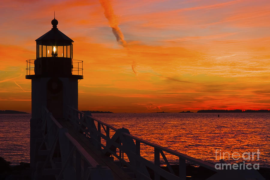 Sunset At Marshall Point Lighthouse At Sunset Maine