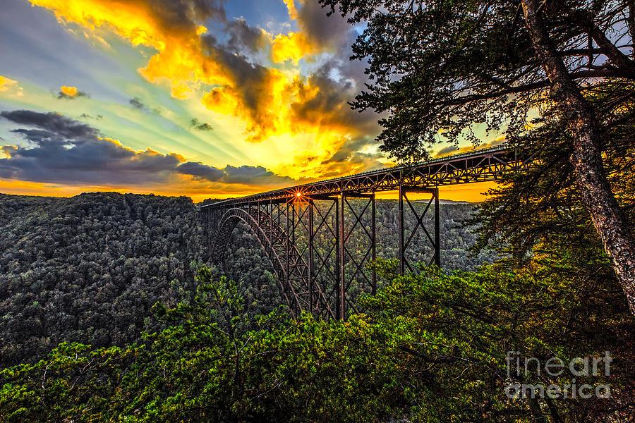 New River Gorge Bridge Photograph - Sunset At New River Gorge Bridge by Mark East