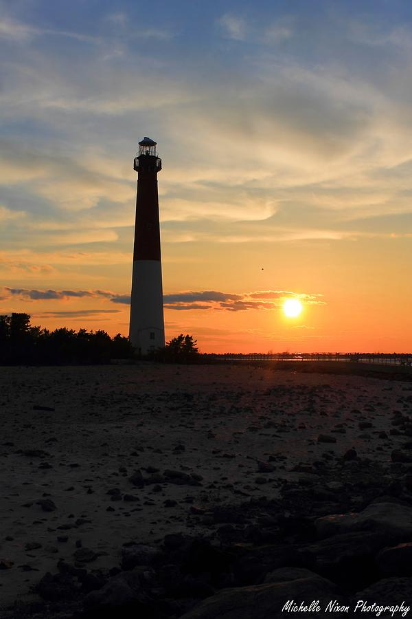 Lighthouse Photograph - Sunset At Old Barney by Michelle Nixon