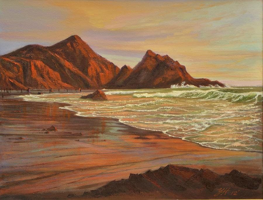 Pfeiffer Beach Painting - Sunset At Pfeiffer Beach by Yinguo Huang