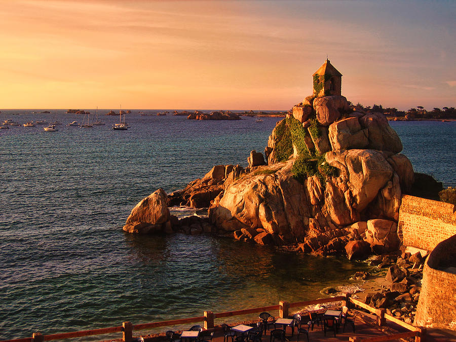 Port Blanc Photograph - Sunset At Port Blanc - Cote De Granit Rose by Menega Sabidussi