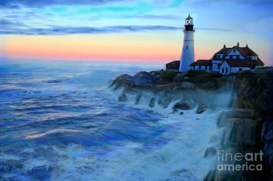 Sunset At Portland Head Lighthouse Painting By Earl Jackson