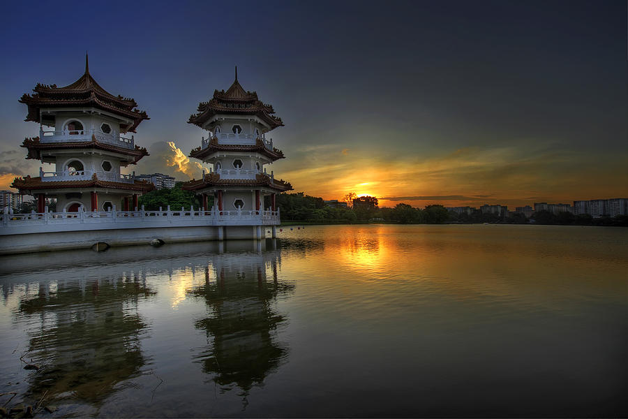 Sunset Photograph - Sunset at Singapore Chinese Garden by David Gn