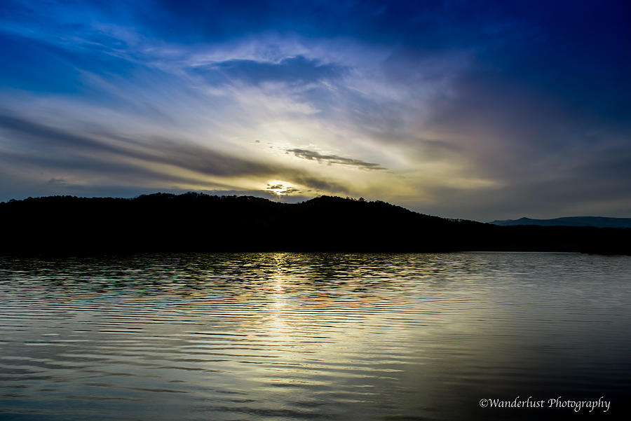 Sun Photograph - Sunset At South Tellico Lake by Paul Herrmann