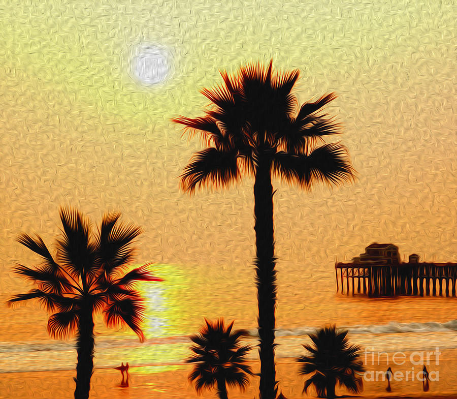 Sunset Digital Art - Sunset At The Beach In Oceanside California by Kenneth Montgomery