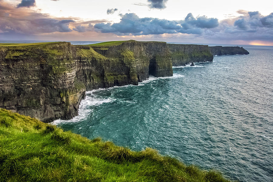 Ireland Photograph - Sunset at the Cliffs of Moher by Pierre Leclerc Photography