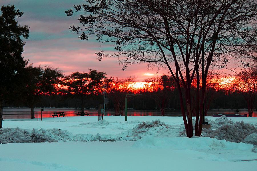 Snow Photograph - Sunset At The Park by Carolyn Ricks