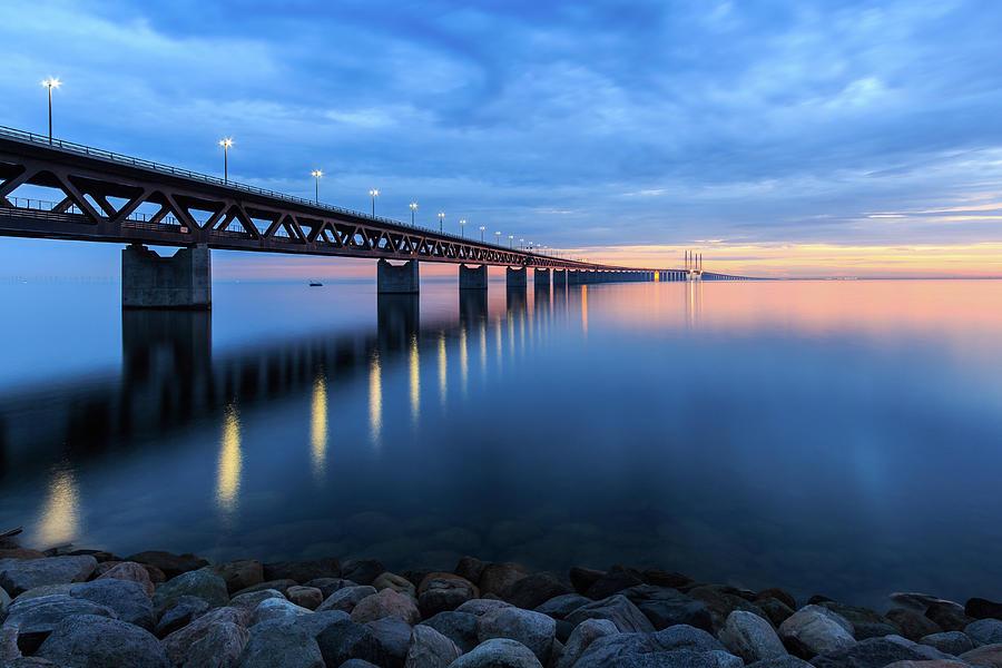 Sunset At The Øresund Bridge, Malmö Photograph by Maria Swärd
