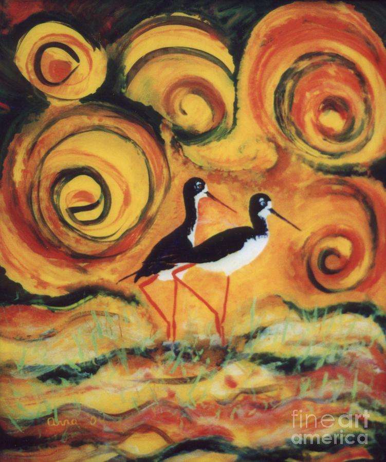 Kauai Birds Painting - Sunset Ballet by Anna Skaradzinska