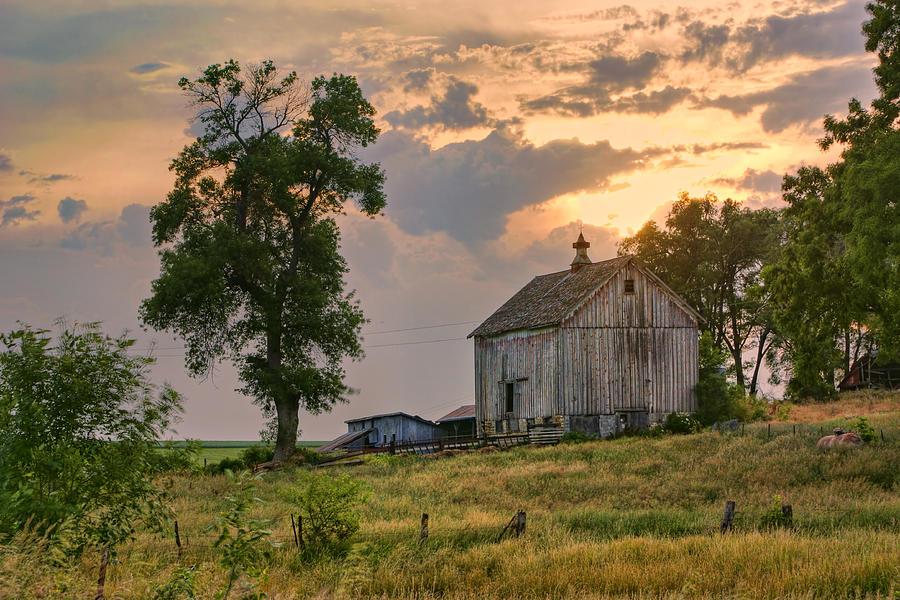 Old Barn Photograph - Sunset Barn by Nikolyn McDonald