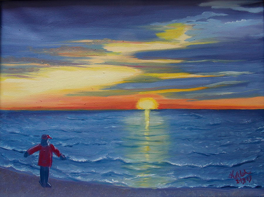 Sunset Painting - Sunset Bay by Kathern Welsh