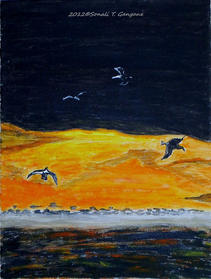 Birds In Twilight Painting - Sunset Birds by Sonali Gangane
