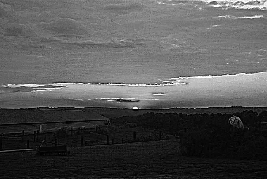 Gray Photograph - Sunset Black And White by Beverly Hammond