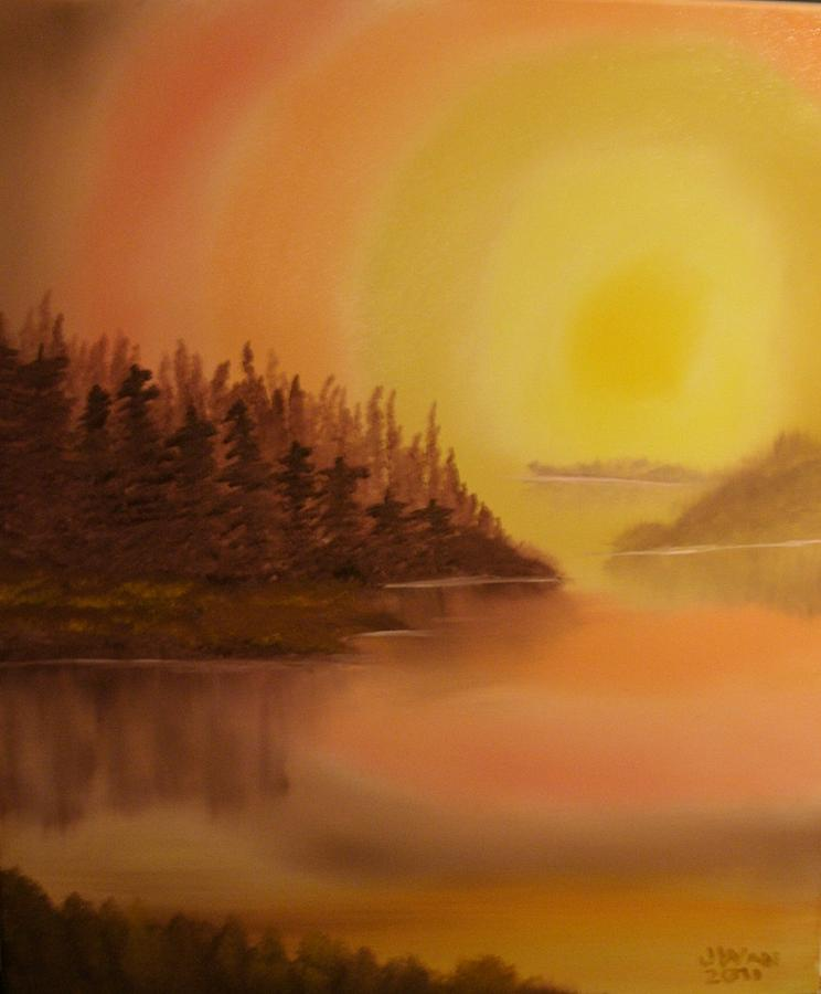 Landscape Painting - Sunset Brown Island  by James Waligora