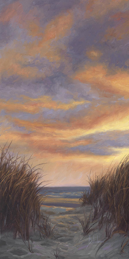 Sunset By The Beach Painting By Lucie Bilodeau