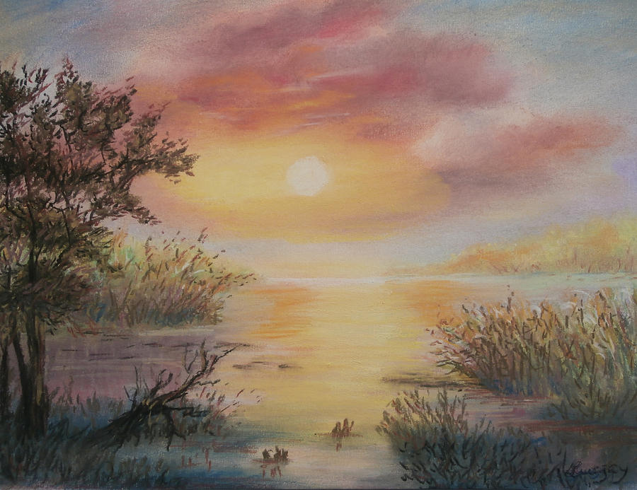 Sunset by the Lake by Katalin Luczay