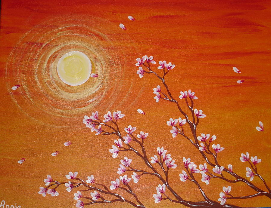Sunset Painting - Sunset Cherry Blossoms by Angie Butler