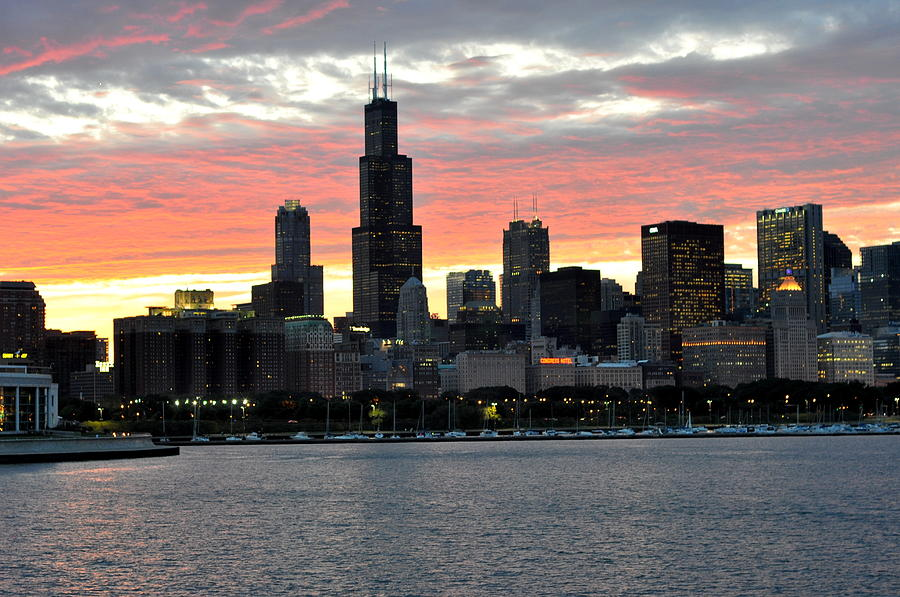 Sunset Photograph - sunset Chicago by David Flitman