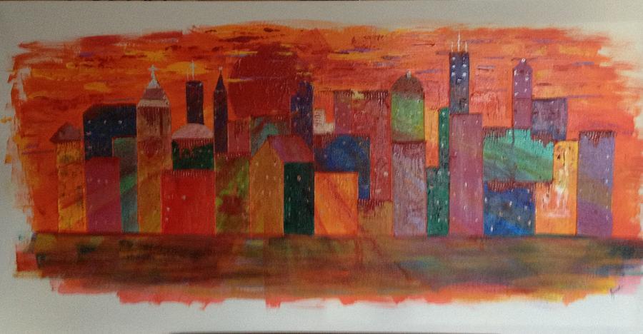 Sunset Painting - Sunset City by Judi Goodwin