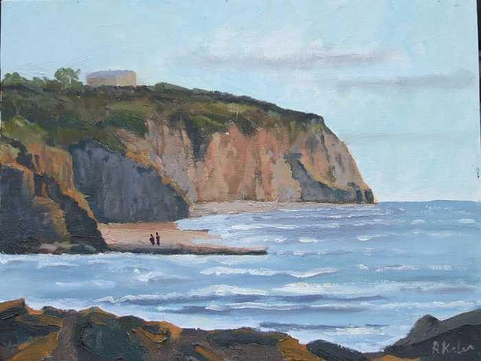 Sunset Cliffs Ca Painting by Raymond Kaler