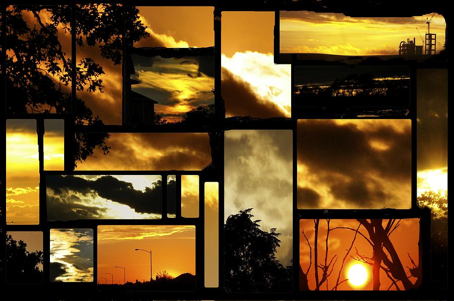 Sunset Photograph - Sunset Collage by Cherie Haines